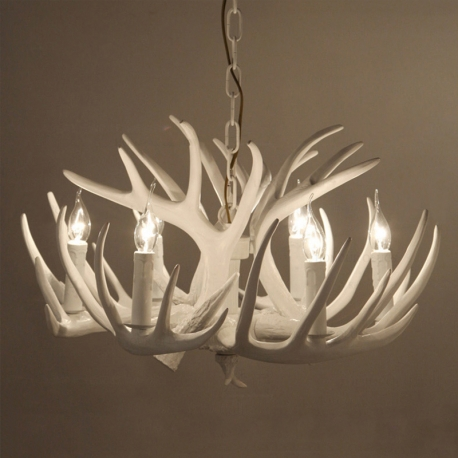 American country style resin deer horn chandelier white resin free antler white deer horn chandelier mozeypictures Gallery