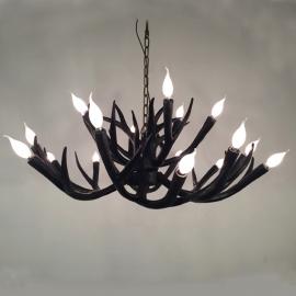18 Lights Black White Antler Deer Horn Chandelier