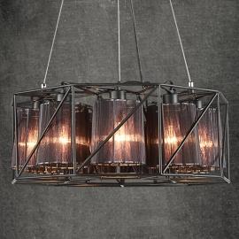 Vintage Iron Black Lampshade Chandelier