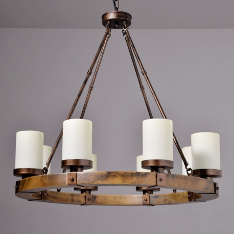 Industrial Vintage Iron Rod Glass Lampshade Wood Base