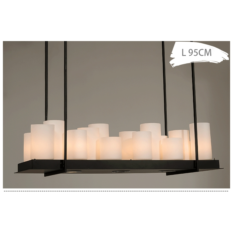 Led Industrial Vintage Pillar Candle Rectangular Chandelier – Pillar Candle Chandelier Rectangular