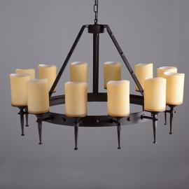 Vintage Iron Spanish Torch Pillar Candelabra Chandelier