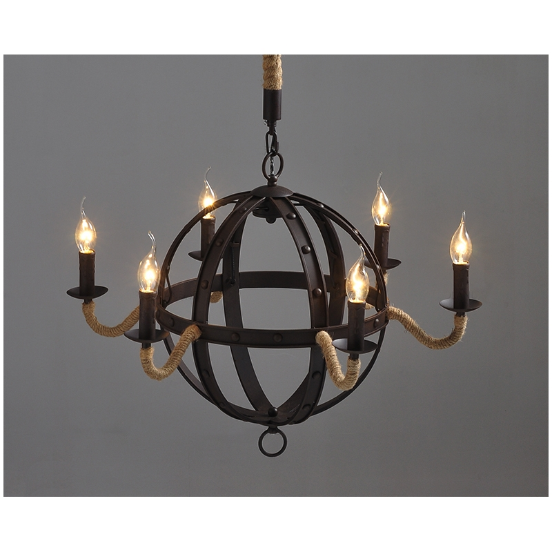 Industrial Vintage Wrought Iron Metal Iron Chandelier 6