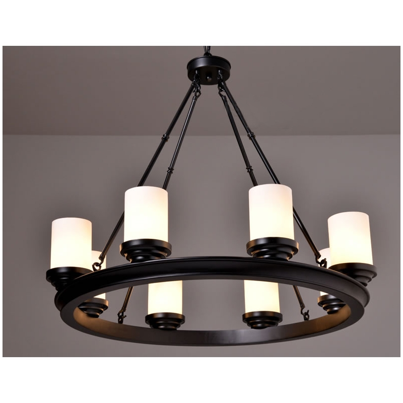 Industrial Vintage Pillar Candle Round Chandelier Wrought