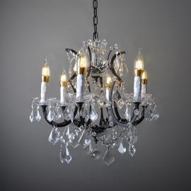 Vintage RH 19TH C. Rococo Iron & Clear Crystal Chandelier
