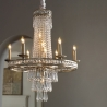 Camella Chandelier Vintage 19TH C. Rococo Iron & Clear Crystal Round Chandelier