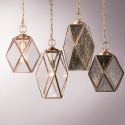 Vintage Glass Brass Pendant Light