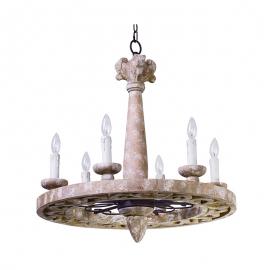 Houten kroonluchter wooden chandelier E14 6 lights C0019
