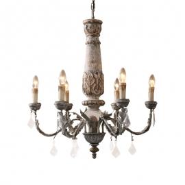 C0021 Houten kroonluchter wooden chandelier E14 6 lights