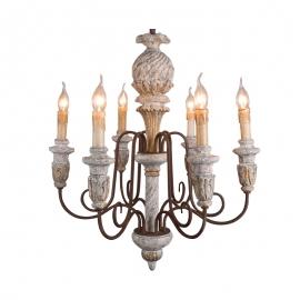 C0022 Houten kroonluchter wooden chandelier E14 6 light