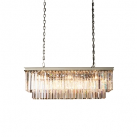 "RH 1920S Odeon Clear Glass Fringe Rectangular Chandelier 33"" 49"""