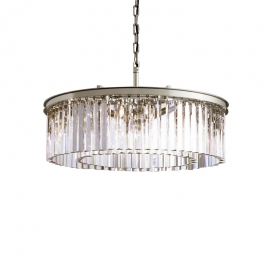 "RH RHYS Clear Glass Prism Round Crystal Chandelier 23.6"" 31.4"" 39.3"""