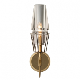 New Modern Claridges Brass Glass Single Sconce