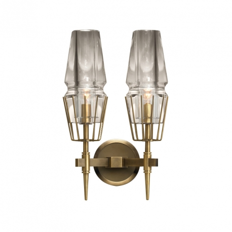 New Modern Chaillot Brass Glass Double Sconce