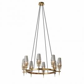 New Modern Chaillot Brass Glass Circular Chandelier