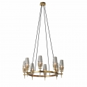 New Modern Chaillot Brass Glass Circular Chandelier