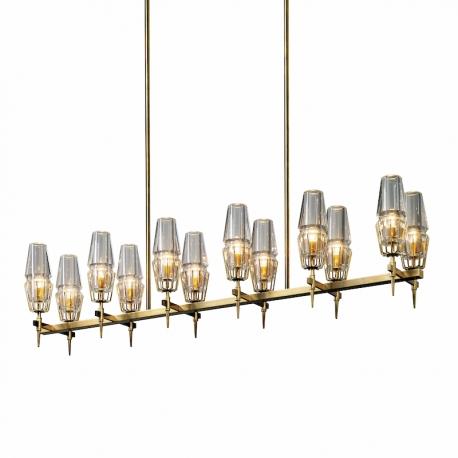 New Modern Chaillot Brass Glass Linear Chandelier