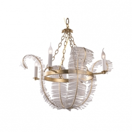 Vintage Banana Leaf K9 Glass Chandelier
