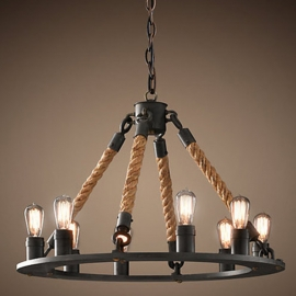 Industrial Vintage Iron and Rope 6-8-12 chandelier