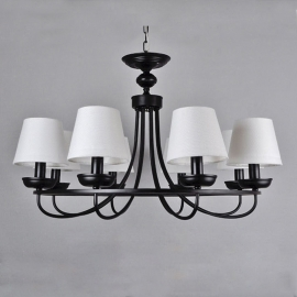 Country style Vintage Linen Lampshade Chandelier