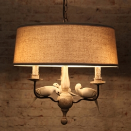 Country Style Iron and Bird with Linen Lampshade Chandelier