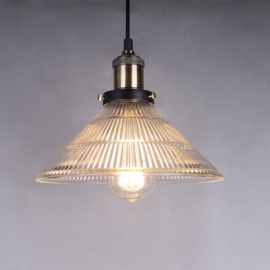 Vintage 20TH C. Factory Filament Ribbed Glass Single Pendant