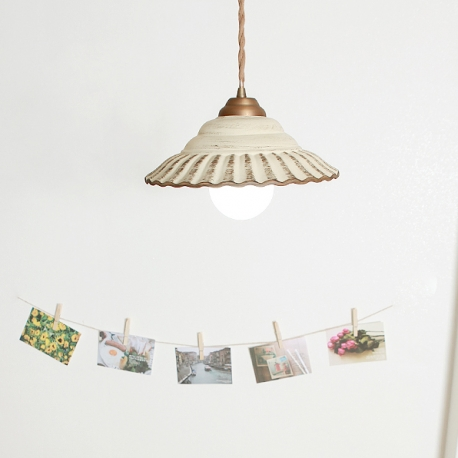 Country Style Pendant Edison Light Porcelain Lampshade