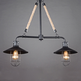 Industrial Vintage Two heads Wrought Iron Pendant Light