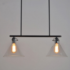 American Style Vintage  Two heads Pendant Light Edison Bulbs glass lampshade
