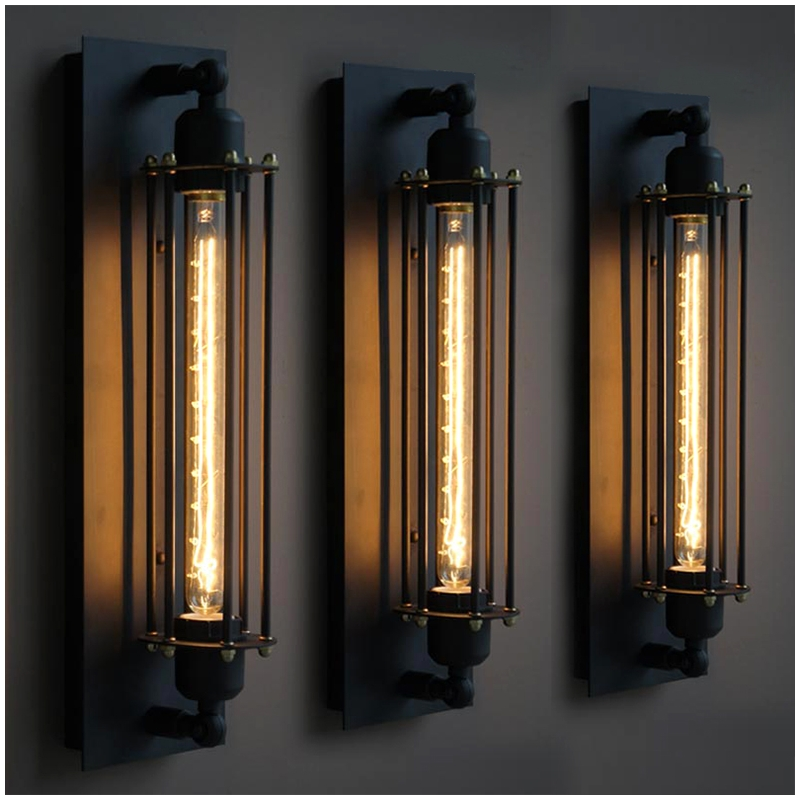 American GRAND EDISON CAGED SCONCE Vintage Industrial ...