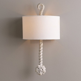 Calla Sconce Aged Metal Rustic White Wall Lamp