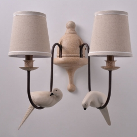 Two Bird with Lampshade Wall Lamp
