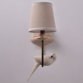 Resin Bird Wall Lamp with Lampshade