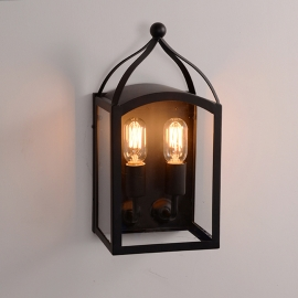 Wrought Iron Glass Cage  Edison Wall Lamp