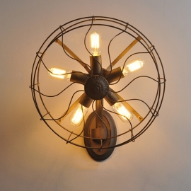 Edison Industrial Style Metal Iron Fan Wall Lamp