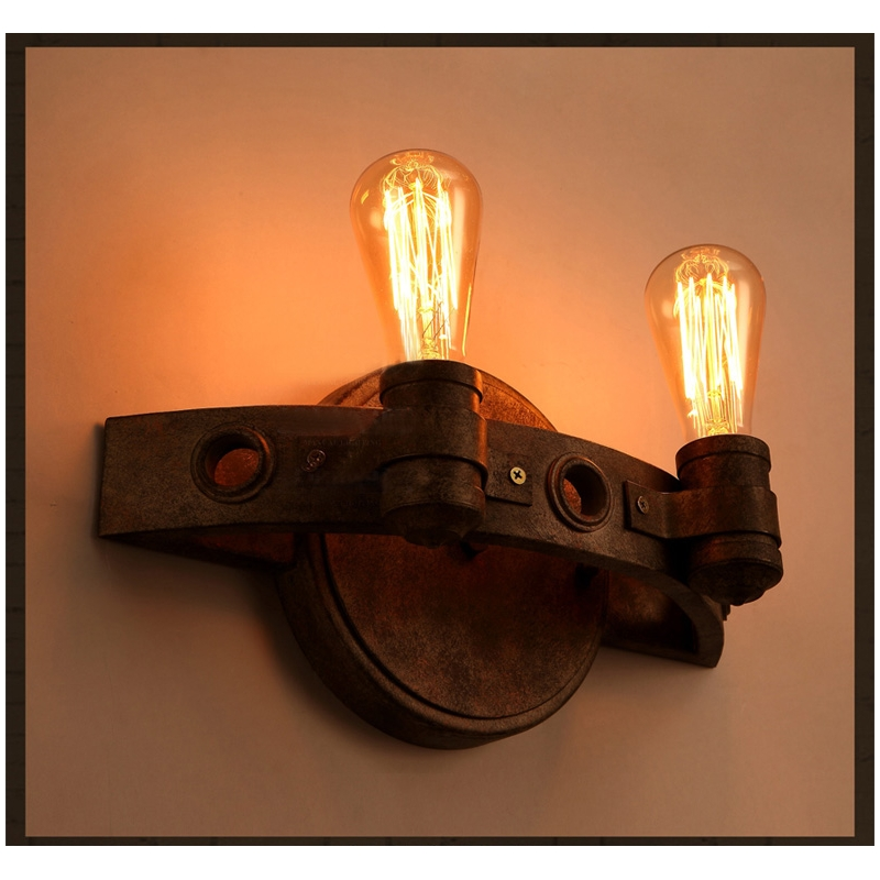 Wall Lamp Industrial Style : American Industrial Style Rustic Iron Vintage Edison bulb Wall lamp E27 Free Shipping wall sconce