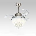 "32"" Led Lotus Crystal Collapsible Fan Ceiling Lamp"