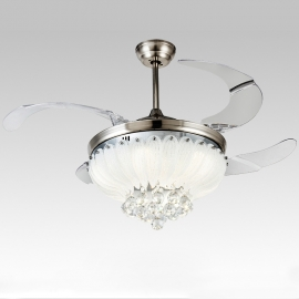 "42"" Lotus Collapsible Fan Crystal Ceiling Lamp"
