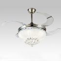 """42"""" Lotus Collapsible Fan Crystal Ceiling Lamp"""
