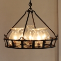 Wrought Iron Buble Glass Vintage Chandelier