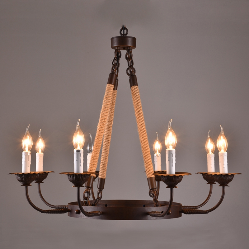 America Style Industry Country Chandelier Hemp Rope Lamp 8