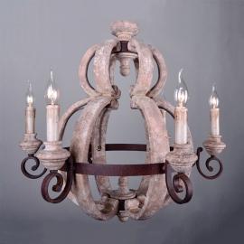 Vintage Wood Candelabra Chandelier