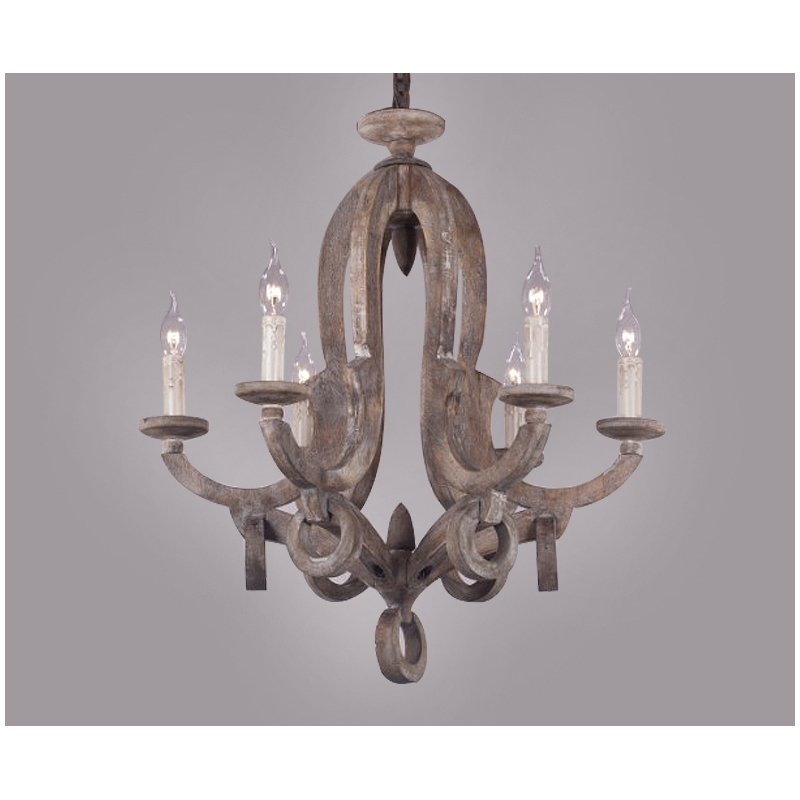 America style vintage country wood made work chandelier