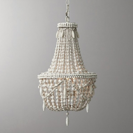 RH Anselme White Wood Bead Chandelier