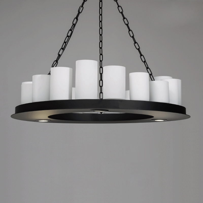 Iron Chain Pillar Candle Round Chandelier