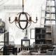 Vintage Industrial Iron Sphere Candelabra Chandelier