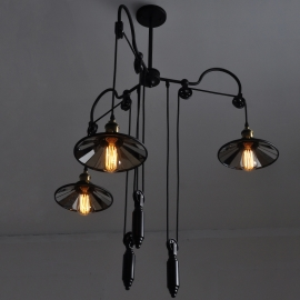 Edison Mirror Lampshade Block and Tackle Chandelier