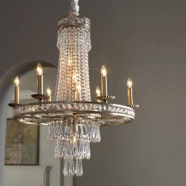 Camella Chandelier Vintage 19TH C. Rococo Iron & Clear Crystal Round Chandelier