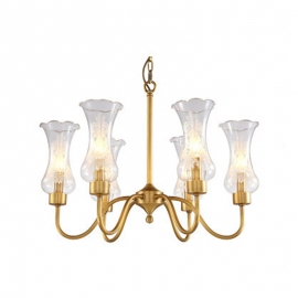 New Classical Brass with Glass Lampshade Chandelier