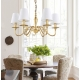 New Classical Brass Copper Chandelier with Linen Lampshade